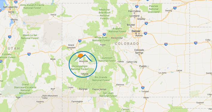 A map of Colorado with the Blind Endeavors Logo above Montrose