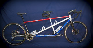 Steve's tandem which has a special red, white and blue color scheme.