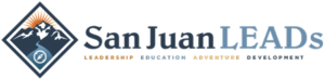 San Juan LEADS Logo with the text Leadership, Education, Adventure, and Development