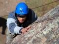 Blind soldier Steve Baskis rock climbing at Camp Hale, Colorado.