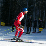 Steve Baskis skate skiing in West Yellowstone