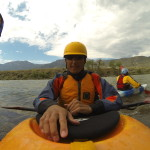 Steve Baskis geared up in his kayak to tackle Yankee Jim Canyon