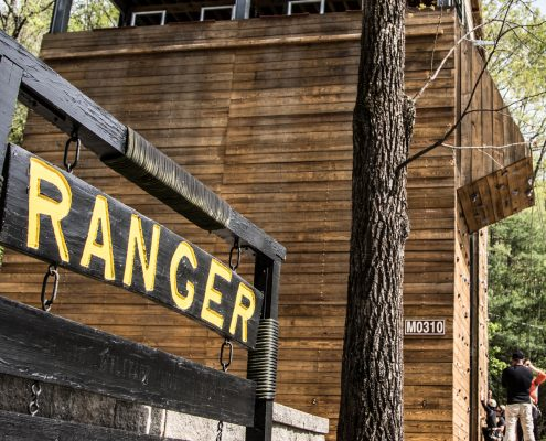 A wooden sign in the foreground spells out RANGER in yellow lettering.
