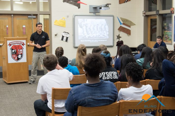 Steve Baskis shares his story to a group of students at Gainesville Elementary School.