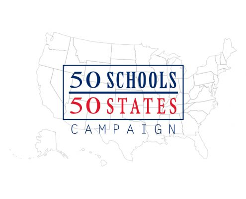 The 50 United States are faded in the background with 50 Schools in blue text over 50 States in red text.