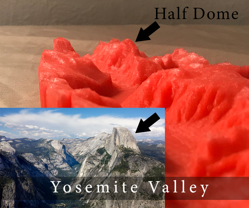 3D print of Yosemite Valley pointing out half dome and comparing it to an actual picture of the valley.